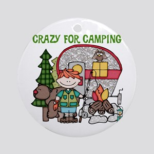 Boy Crazy For Camping Ornament (Round)