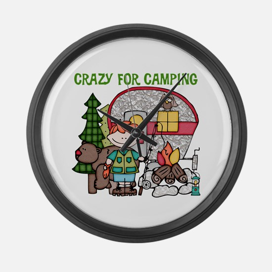 Boy Crazy For Camping Large Wall Clock