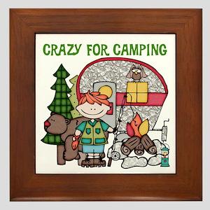 Boy Crazy For Camping Framed Tile