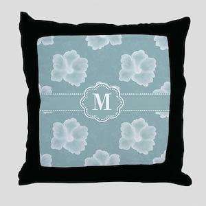 Mint Hibiscus Monogram Throw Pillow