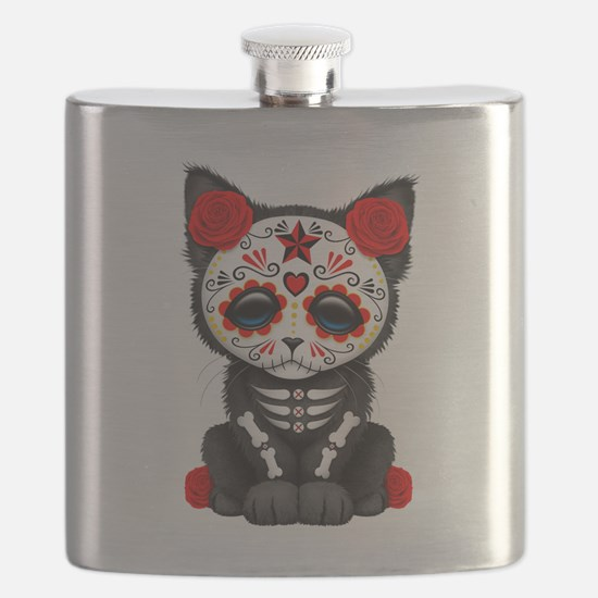 Cute Red Day of the Dead Kitten Cat Flask