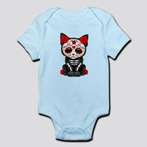 Cute Red Day of the Dead Kitten Cat Body Suit
