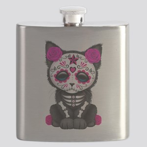 Cute Pink Day of the Dead Kitten Cat Flask