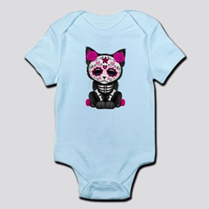 Cute Pink Day of the Dead Kitten Cat Body Suit