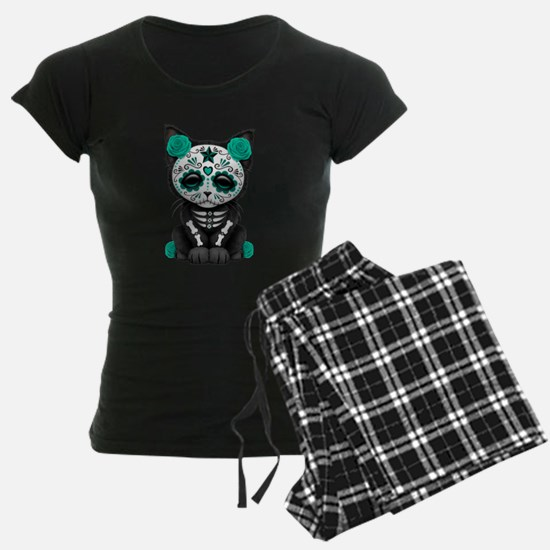 Cute Teal Day of the Dead Kitten Cat pajamas