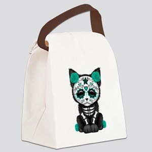Cute Teal Day of the Dead Kitten Cat Canvas Lunch