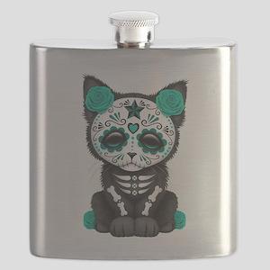 Cute Teal Day of the Dead Kitten Cat Flask