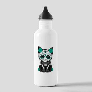 Cute Teal Day of the Dead Kitten Cat Water Bottle