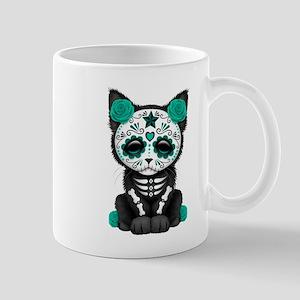 Cute Teal Day of the Dead Kitten Cat Mugs