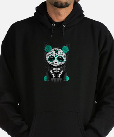Cute Teal Day of the Dead Kitten Cat Hoodie