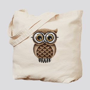 Cute Fluffy Brown Owl with Reading Glasses Tote Ba