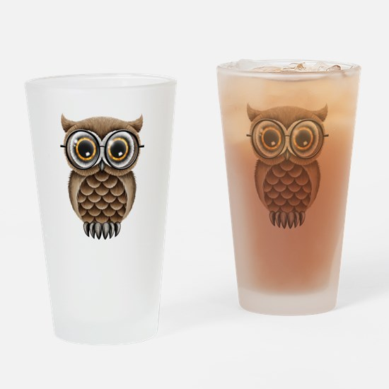 Cute Fluffy Brown Owl with Reading Glasses Drinkin