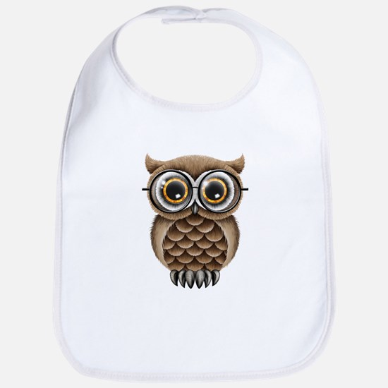 Cute Fluffy Brown Owl with Reading Glasses Bib
