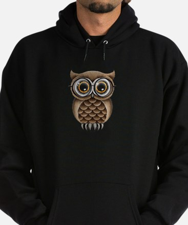 Cute Fluffy Brown Owl with Reading Glasses Hoodie