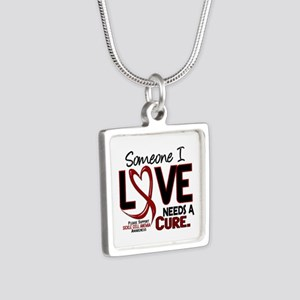 Sickle Cell Anemia NeedsaC Silver Square Necklace