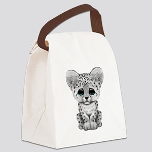 Cute Baby Snow Leopard Cub Canvas Lunch Bag