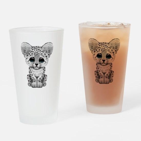 Cute Baby Snow Leopard Cub Drinking Glass