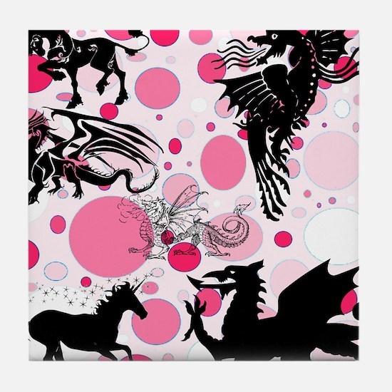 Fantasy in Pink Tile Coaster