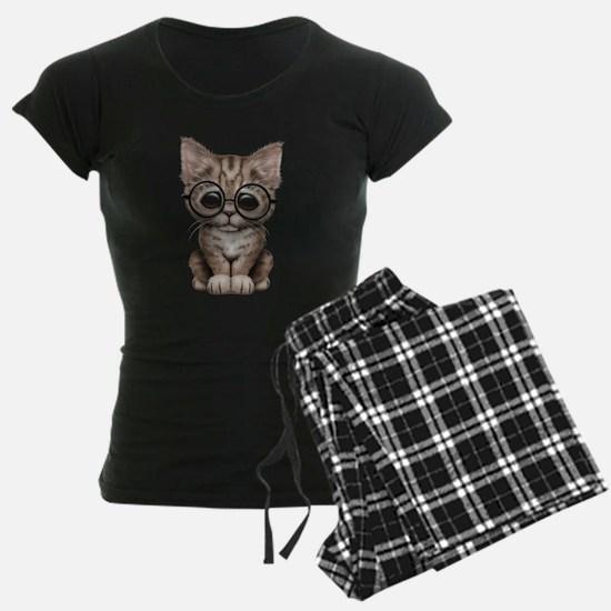 Cute Tabby Kitten with Eye Glasses pajamas