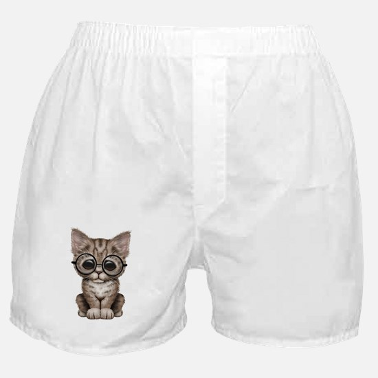 Cute Tabby Kitten with Eye Glasses Boxer Shorts