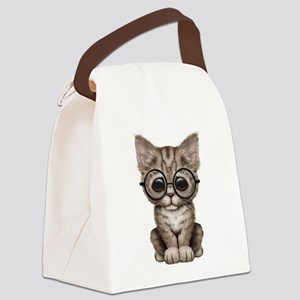 Cute Tabby Kitten with Eye Glasses Canvas Lunch Ba