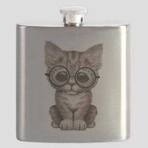 Cute Tabby Kitten with Eye Glasses Flask