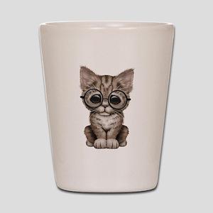 Cute Tabby Kitten with Eye Glasses Shot Glass