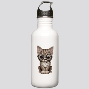Cute Tabby Kitten With Stainless Water Bottle 1.0l