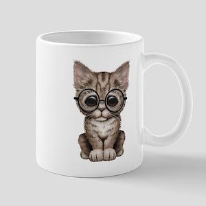 Cute Tabby Kitten with Eye Glasses Mugs