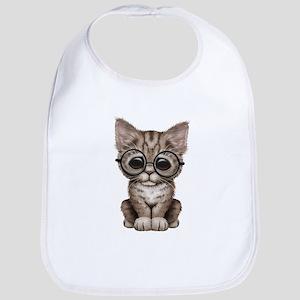 Cute Tabby Kitten with Eye Glasses Bib