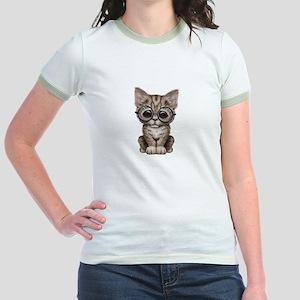 91c155e1472b6 Cute Tabby Kitten with Eye Glasses T-Shirt