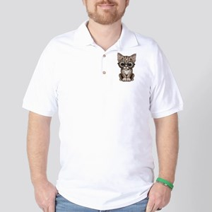 Cute Tabby Kitten with Eye Glasses Golf Shirt