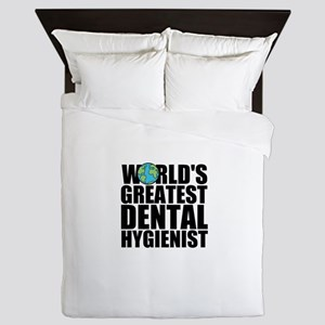 World's Greatest Dental Hygienist Queen Duvet