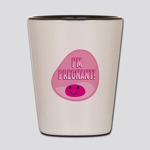 Im pregnant! Funny cute womb in pink Shot Glass