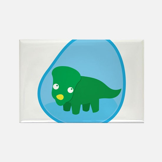 Little green dinosaur in the womb Magnets