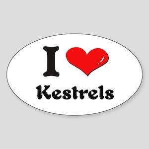 I love kestrels Oval Sticker