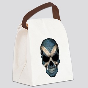 Scottish Flag Skull Canvas Lunch Bag