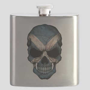 Scottish Flag Skull Flask