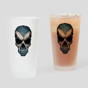 Scottish Flag Skull Drinking Glass