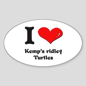 I love kemp's ridley turtles Oval Sticker