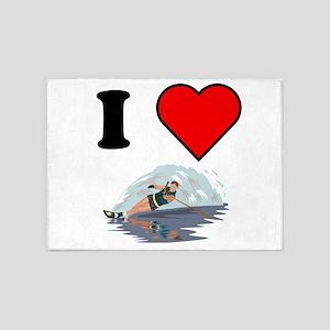 I Heart Waterskiing 5'x7'Area Rug