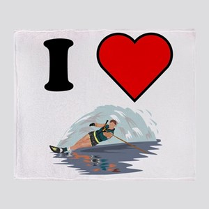 I Heart Waterskiing Throw Blanket