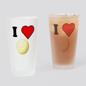 I Heart Volleyball Drinking Glass