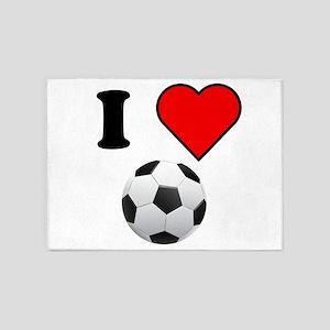 I Heart Soccer 5'x7'Area Rug