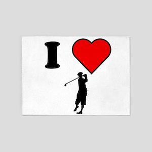 I Heart Golf 5'x7'Area Rug