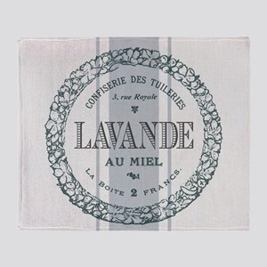 Vintage French Lavender Throw Blanket