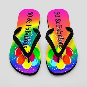 Colorful 50th Flip Flops
