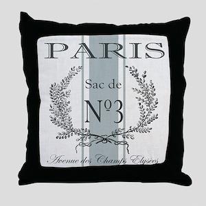 Vintage French Paris grain sac Throw Pillow