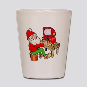 Santa Claus On Computer Shot Glass