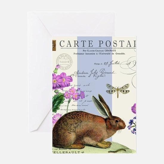 modern vintage french woodland rabbit Greeting Car